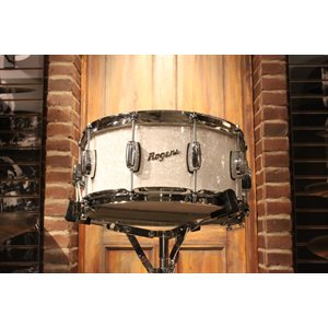 ROGERS DYNA-SONIC 33-BP REISSUE 6.5X14 WHITE MARINE PEARL SNARE DRUM – FLOOR DEMO