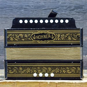 "HOHNER VIENNA 1-ROW 4-BASS 10-TREBLE BUTTON ""A"" GOLD BRAND DIATONIC ACCORDION #129"