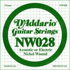 D'ADDARIO NW028 NICKEL WOUND ELECTRIC GUITAR SINGLE STRING .028