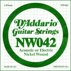 D'ADDARIO NW042 NICKEL WOUND ELECTRIC GUITAR SINGLE STRING .042
