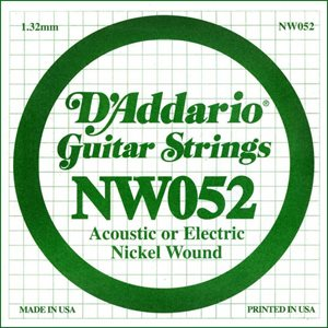 D'ADDARIO NW052 NICKEL WOUND ELECTRIC GUITAR SINGLE STRING .052