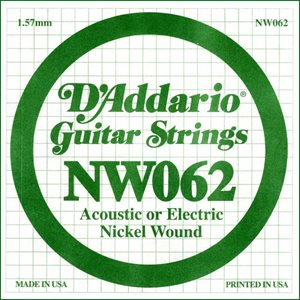 D'ADDARIO NW062 NICKEL WOUND ELECTRIC GUITAR SINGLE STRING .062