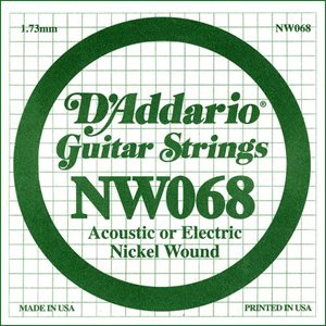 D'ADDARIO NW068 NICKEL WOUND ELECTRIC GUITAR SINGLE STRING .068