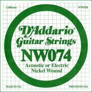 D'ADDARIO NW074 NICKEL WOUND ELECTRIC GUITAR SINGLE STRING .074