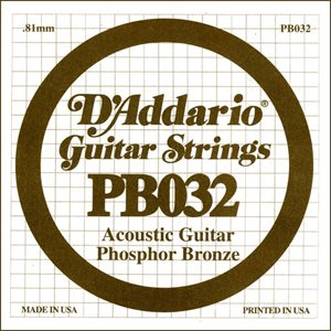 D'ADDARIO PB032 PHOSPHOR BRONZE WOUND ACOUSTIC GUITAR SINGLE STRING .032