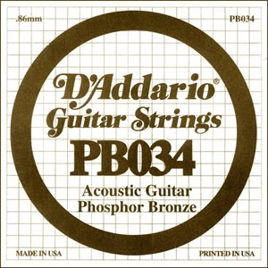 D'ADDARIO PB034 PHOSPHOR BRONZE WOUND ACOUSTIC GUITAR SINGLE STRING .034