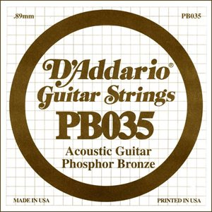 D'ADDARIO PB035 PHOSPHOR BRONZE WOUND ACOUSTIC GUITAR SINGLE STRING .035