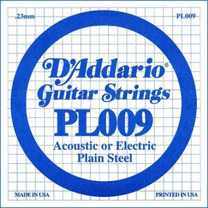 D'ADDARIO PL009 PLAIN STEEL GUITAR SINGLE STRING .009